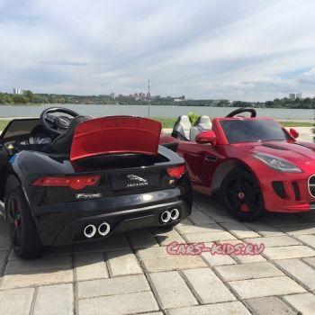 Электромобиль Jaguar F-Type красный (резиновые колеса, кожа, пульт, музыка, ГЛЯНЦЕВАЯ ПОКРАСКА)