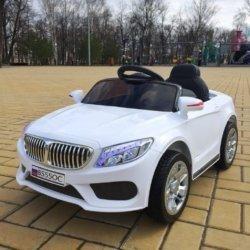 Электромобиль БМВ Б555ОС белый (колеса резина, сиденье кожа, пульт, музыка)